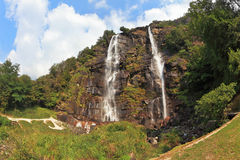 Double falls in mountains Royalty Free Stock Photos