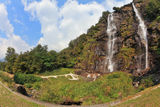 Double falls in mountains Royalty Free Stock Images