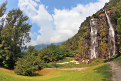 Double falls in mountains of Italy Stock Images
