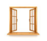 Double fenêtre en bois ouverte d'isolement Images libres de droits