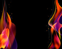 Double fire torch vector colored sparks burn horizontal on black.  Royalty Free Stock Photos