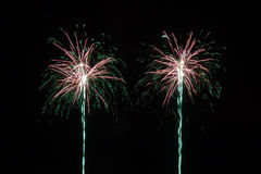 Double Firework in the sky Stock Photography