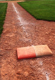 Double First Base Chalk Foul Line Royalty Free Stock Images