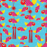 Double fish knot cute seamless pattern Stock Image
