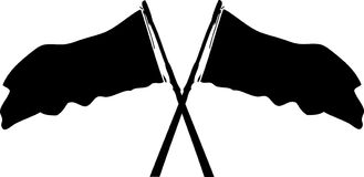 Double flag cross-case waving at the flagpole. Vector black flag waving at the flagpole. Which are not known which country royalty free illustration