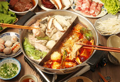 Free Double Flavor Hot Pot Royalty Free Stock Photo - 49743745
