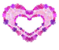 Double flower heart background. Stock Photos