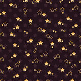 Double flower star seamless pattern. This illustration is design double composition gold flower star with dark purple background seamless pattern Stock Images