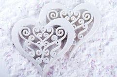 Double forme de coeur dans la neige Photos libres de droits