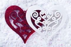 Double forme de coeur dans la neige Photo libre de droits