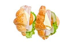 Double Fresh Croissants. Double Fresh Croissants On White Background Royalty Free Stock Photo
