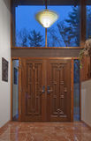 Double front doors in foyer Royalty Free Stock Photo