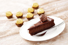 Double gâteau au fromage de chocolat image libre de droits