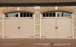 Double Garage Doors Driveway Stock Image