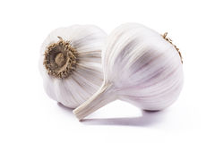Double garlic isolated on white background for package Royalty Free Stock Photography