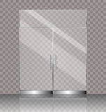 Double glass door. Vector illustration of transparent double glass door for shop or commercial building entrance Royalty Free Stock Image