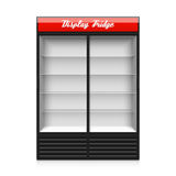 Double glass sliding door display fridge Royalty Free Stock Images