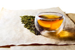 Double glass tea cup filled with green tea Royalty Free Stock Photo