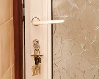 Double Glazed door with keys Stock Photography