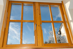 Double glazed wooden window Stock Image
