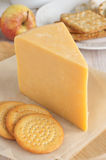 Double Gloucester Cheese. Double Gloucester a traditional creamy semi hard British cheese Royalty Free Stock Images
