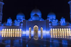 Sheikh Zayed Grand Mosque, Abu Dhabi. Double Glow of Night Lights. Sheikh Zayed Grand Mosque, Abu Dhabi, United Arab Emirates, Nov.2017 royalty free stock photo
