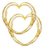 Double gold heart design. Two delicate metallic gold filigree hearts entwined on a white background royalty free illustration