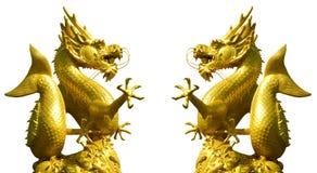 Double golden dragon statue Stock Image