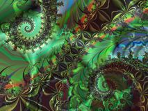 Double green. Double mostly green spiral fgractal Royalty Free Stock Photos