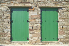 Double green doors, Tinos island, Greece Royalty Free Stock Photos