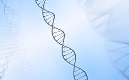 Double hélice d'ADN, métal avec le fond blanc et bleu Photos stock