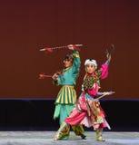 "Double halberd of guns-Peking opera ""Little Worriors of Yeuh's family"" Royalty Free Stock Photo"