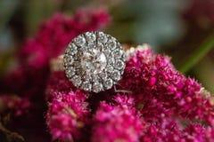 Round halo diamond wedding engagement ring royalty free stock photos