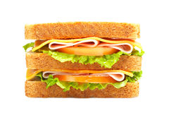 Double ham sandwich with vegetables Royalty Free Stock Photos