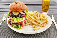 Double hamburger with french fries on white dish Royalty Free Stock Photography
