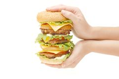 Double hamburger in hands Stock Photography