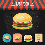 Double hamburger icon on a chalkboard. Set of icons and eco label. Flat design. Vector Royalty Free Stock Images