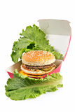 Double hamburger packing Royalty Free Stock Photography