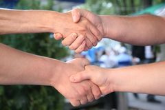Double handshake Stock Photography