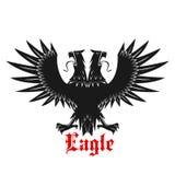 Double headed black heraldic eagle icon Stock Images