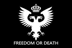 Double headed eagle. Flag with freedom or death inscription Royalty Free Stock Photography