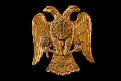 Double Headed Eagle. Common symbol in heraldry and vexillology. It is most commonly associated with Byzantine Empire, Holy Roman Empire, Russian Empire - on Stock Photo