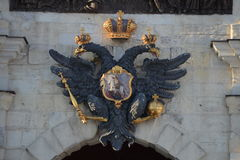 Double-headed eagle above the Peter's gate. Peter and Paul fortress, Saint-Petersburg Royalty Free Stock Image