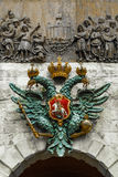 The double-headed eagle coat of arms on  the Peter`s Gate. Peter Paul Fortress. St. Petersburg. Russia. The double-headed eagle coat of arms on   the Peter`s Stock Photos