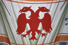 Double Headed Eagle, common symbol in heraldry and vexillology. It is most commonly associated with Byzantine Empire Stock Photo
