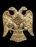 Double Headed Eagle. Common symbol in heraldry and vexillology. It is most commonly associated with the Byzantine Empire, the Holy Roman Empire, the Russian stock images