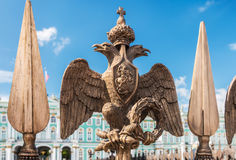 Double-headed eagle in the imperial crown on the fence of the Al Royalty Free Stock Images