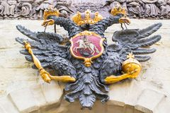 The double-headed eagle on the Peter& x27;s Gate. Peter-Pavel& x27;s Fortress. St. Petersburg. Russia. Empire crown saint-petersburg imperial palace arms coat stock photography