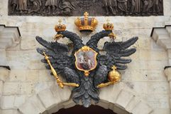 Double headed eagle in Saint Petersburg. Russia. Stock Photography