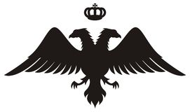 Double Headed Eagle Silhouette With Crown Stock Images